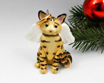 Bengal Cat Angel Christmas Ornament Figurine Memorial Porcelain