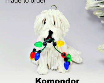 Komondor Dog Porcelain Christmas Ornament Figurine Made to Order
