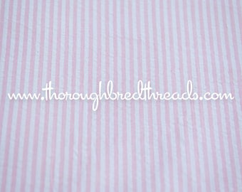 Pink Striped Seersucker - Vintage Fabric Stripes Can Nursery