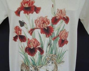 Kittens Butterflies Iris Flower T-shirt  Plus Size 2XL Tee Shirt