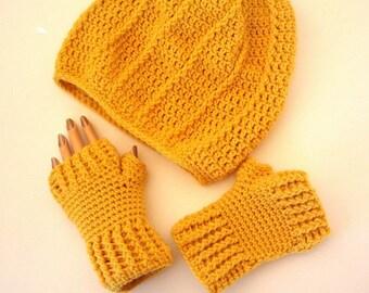Sunflower Yellow Gold Slouchy Hat & Fingerless Texting Gloves Crochet Set