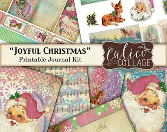 Printable, Journal Kit, Joyful Christmas, Junk Journal Kit, Holidays, Santa, Printable Ephemera, Vintage Christmas, Journal Tags, Digital