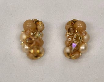 Vintage Pearl and Glass Gold Tone Cluster Earrings with back clasps.