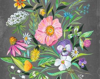 30 Year Bouquet   Wildflower Art Print   Floral Wall Art   Katie Daisy   8x10   11x14
