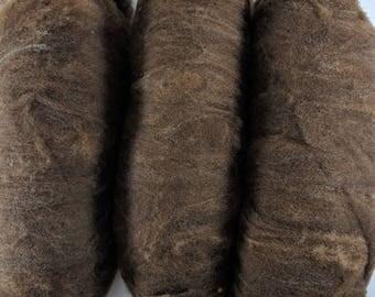 Soft Shetland Moorit Wool Hand Processed Batts - 3 oz