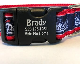 New England Patriots Professional American Football Team Dog Collar National Football League Conference East Division Pet ID