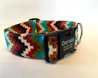 """Extra Wide 1.5"""" Personalized Dog Collar Aztec Design Southwest Style Turquoise Accent Fur Baby Collar Pet Identification Geometric Pattern"""