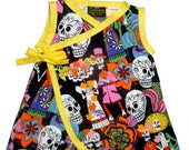 On SALE 55% OFF Punk Rock Baby - Day of the Dead - Sugar Skull Dress - Dia De Los Muertos Baby - Yellow Dress - Girls Dress - Baby Dress - 6