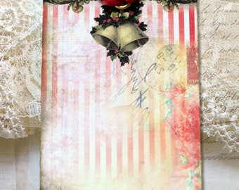 Red Stripe Christmas Bells Gift or Scrapbook Tags or Magnet #1