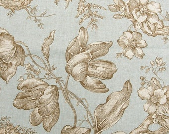 "Aqua Floral Toile Curtains, Blue Brown Draperies, Traditional Floral Window Curtains, Elegant Drapes, Rod-Pocket Curtains, One Pair 50""W"