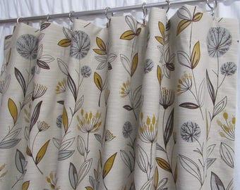 Retro Floral Curtains, Botanical Print Drapes, Mustard Grey Curtain Panels,  Linen Blend Window