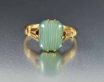 Vintage Art Deco Gold Ring | Green Stripe Art Glass Ring | Art Deco Ring | Stackable Ring