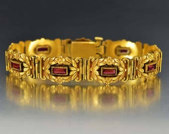 Art Nouveau Gold Ruby Paste Bracelet | Floral 1900s Gemstone Art Nouveau Bracelet | Antique Jewelry | Vintage Link 14K Gold Filled Bracelet