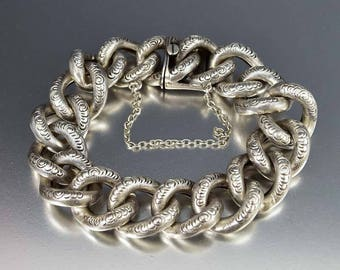 Antique Curb Chain Bracelet | Engraved Silver Victorian Bracelet | Embossed Antique Repousse Curb Link Chain | Wide Silver Bracelet