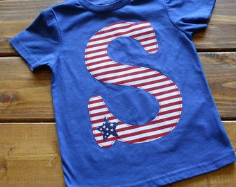 4th of July Shirt for Kids, Patriotic Shirt, 4th of July Outfit, Independence Day Shirt, Military Family, USA Pride, Initial Shirt