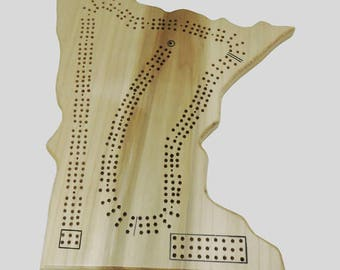 State of Minnesota Cribbage  Board - up to 3 player Game - Complete with pegs, cards, storage bag - In Stock Ready to Ship