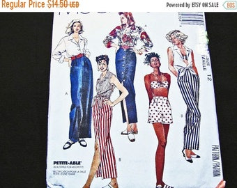 on SALE 25% Off McCalls Pattern, Crop Top Shirt, Bra Top, Maxi Skirt, Shorts, High Waisted Pants, Sewing Pattern, Misses size 12, UNCUT