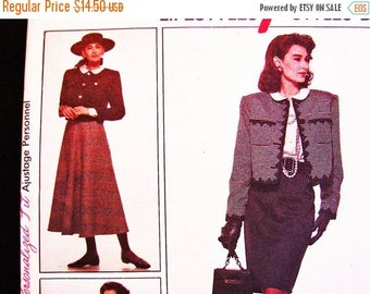 on SALE 25% Off 80s Womens Suit Pattern Style Sewing Pattern Blouse Cropped Jacket Flared Skirt Suit, Mid Calf Skirt Misses size 12 14 16 UN
