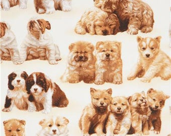 215737 beige Robert Kaufman puppy dog fabric Whiskers and Tails