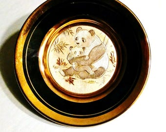 """Collectible Plate...Art Of Choking Gold and Silver Fine China...Collectible Art..Dynasty Gallery Exclusive Design """"Mama Bear and Child"""