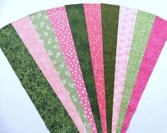 Green Pink Jelly Roll Quilt Strip Pack Cotton Quilting Fabric Die Cut, 20 Strips (sku JR210-GRPIgd)