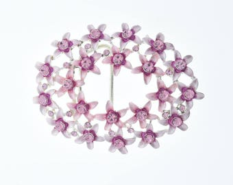 "Pink Crystal Buckle flower with Pink stones fits 1.5"" belts G313/Pk"