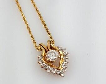 """Vintage 14K Gold & Diamond Necklace .4 Carat Diamond Necklace 16"""" Solid Gold Necklace Chain Diamond Pendant .4 CT Diamond"""