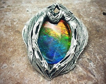 LARGE Silver PMC and Vivid Ammolite Quartz Capped Triplet pendant - Ready to Ship