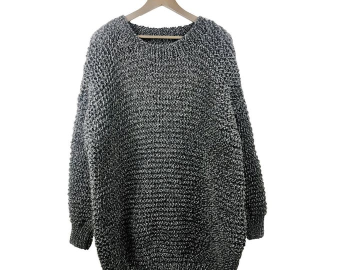 Hand knit oversized woman sweater Crew neck slouchy wool charcoal/white blend marble pullover sweater