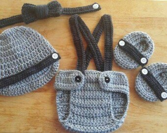 Crochet Baby Boy Suspenders  Diaper Cover Set Newsboy Hat Crochet Baby Hat Booties Photo Prop Shower Gift MADE TO ORDER