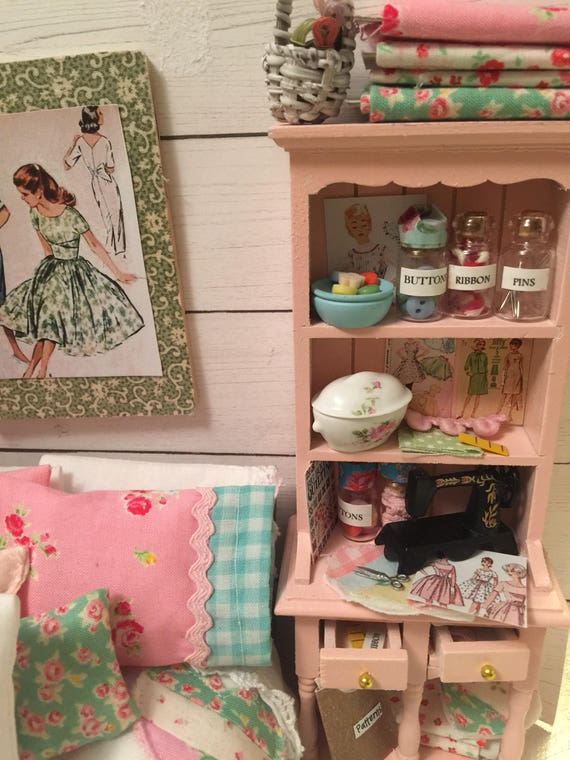 Miniature Pale Pink Sewing Storage Hutch Cupboard and Accessories