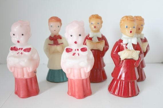 "Vintage Gurley Candles Lot, 6 Choir Boy Mixed Red, Pink, White Robes, Large 6.5"" - 7"" Tall"