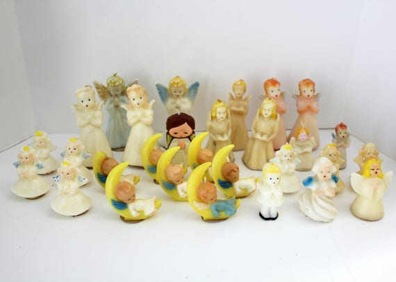29 Vintage Angel Candles, Most Gurley Praying, Baby Angels on Moon, Suni, Tavern, Wayside