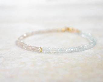 champagne zircon and aquamarine gemstone beaded bracelet. thin beaded bracelet. aquamarine zircon gemstone bracelet. vermeil detail