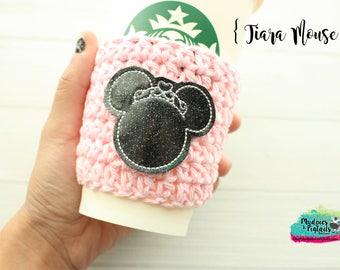 Birthday Princess Crochet Coffee Sleeve { Tiara Mouse } crown black, pink, birthday cup cozy, knit mug sweater, gift, mug holder