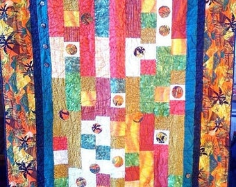 Festival Sale Fall in Love With Island Life, 46 x 64 quilted wallhanging, 2009