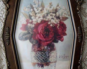 Roses. Print, Paul de Longpre, Fancy, Antique, Gesso, Frame, Convex, Bubble, Glass, Half Yard Long, Art Print, Shabby Chic