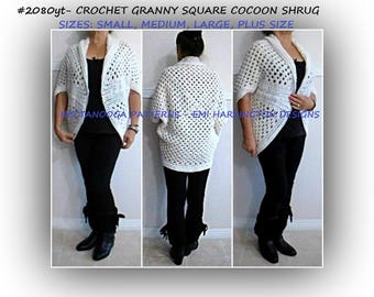 pdf crochet pattern, cardigan shrug sweater, crochet for women, small to plus size, Granny square cocoon shrug, #2080