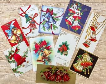 10 Vintage Bell Christmas Cards, Christmas Bells, Candles, Midcentury Cards, 1940s-1960s Bells Christmas Cards: Bold Set