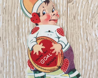 Fun Vintage 1940s Valentine Football Player, Large Oversized Card with twisting part held together with rivet