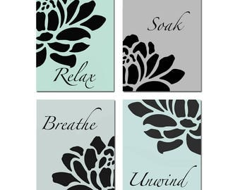 Bathroom Decor Adult Bathroom Art Relax Soak Unwind Bathroom Wall Art Aqua Bathroom Decor Floral Set of 4 Prints - CHOOSE YOUR COLORS