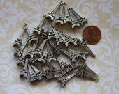 Eiffel Tower Charms (4)  Antique Silver Colored- Jewelry Finding- Paris France Landmark- French Charm