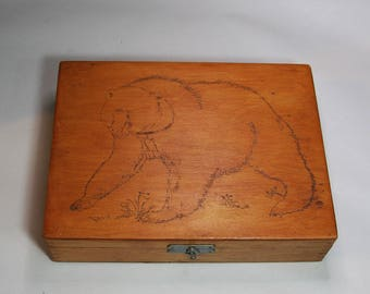 Vintage Wooden Box with Woodburned Design- Bear- Father's Day Gift- Wood Jewelry Box- Keepsake Box- Dovetailed Sides