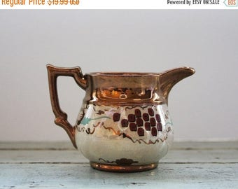 ON SALE Vintage COPPER Luster Pitcher- Small Creamer- Copper Colored- Collectible Pottery- Warm Tones- Lusterware