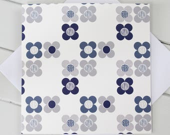 Simple Scandi Mod Flowers  Blank Card Blue and Grey print
