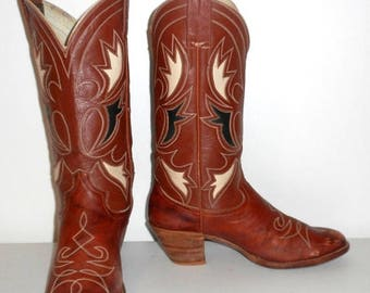 Womens Vintage Cowboy Boots Size 8.5 Brown Western Cowgirl Boho Shoes Rancho Loco