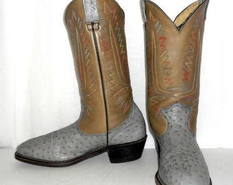 Cowboy Boots 11 C Two Tone Grey Rainbow Stitching Urban Indie Western Shoes VTG