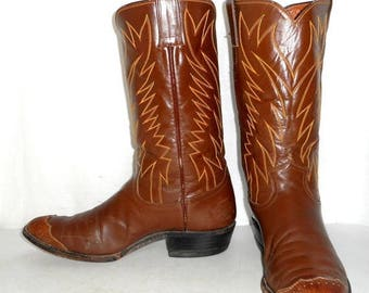 Mens 9 D Cowboy Boots Justin Longhorn Brown Wingtips Urban Indie Womens 10.5