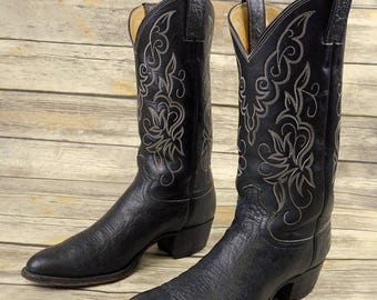 Mens 8 D Cowboy Boots Black Leather Justin Western Wear Country Urban Rockabilly
