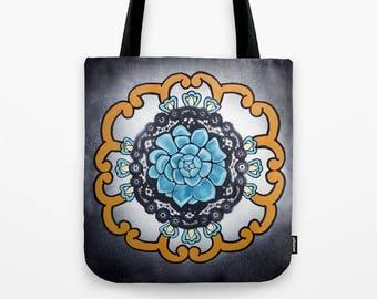 Mandala Tote Bag, Turquoise Succulent, art tote, Talavera pottery design, meditation, yoga, earthy, desert cactus, Mexican flower art